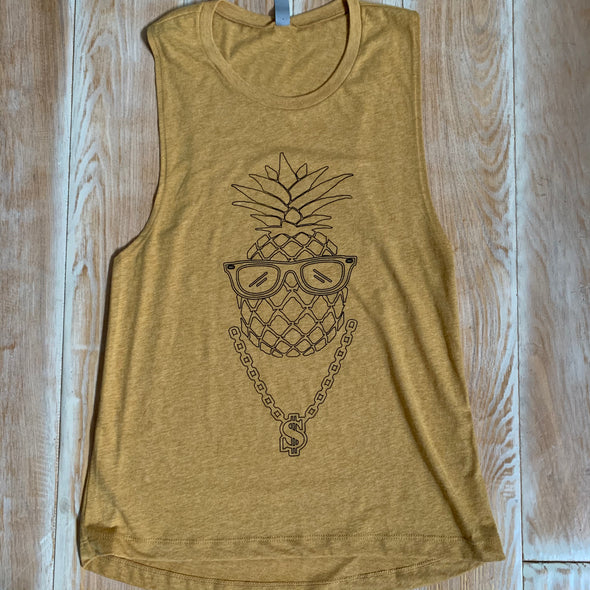 Pineapple Player - women's muscle tank
