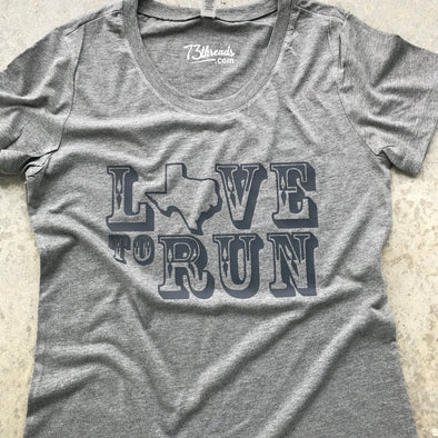 Love to Run - Texas - Charcoal Ink