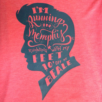 Running in Memphis - Charcoal Ink - Elvis head
