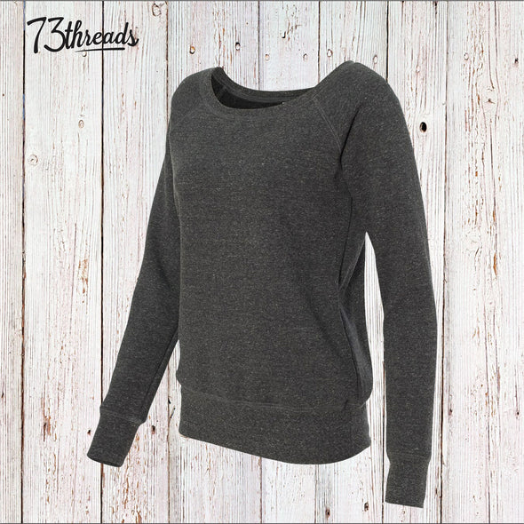 Women's Wide Neck Sweatshirt - Charcoal