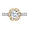 14K Tow Tone Gold Round Cut Diamond Floral Halo Engagement Ring (Semi Mount)