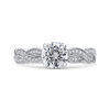 14K White Gold Round Diamond Floral Engagement Ring with Criss Cross Shank (Semi Mount)