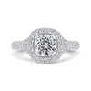 14K White Gold Round Diamond Halo Engagement Ring (Semi Mount)