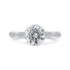 14K White Gold Round Diamond Crossover Shank Engagement Ring (Semi Mount)