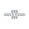 14K White Gold Emerald Cut Diamond Cathedral Style Engagement Ring with Euro Shank (Semi Mount)
