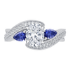 14K White Gold Oval Diamond Engagement Ring with Sapphire (Semi Mount)