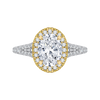 14K Tow Tone Gold Oval Diamond Halo Engagement Ring with Split Shank (Semi Mount)