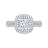 14K White Gold Split Shank Cushion Diamond Double Halo Engagement Ring (Semi Mount)