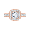 14K Rose Gold Cushion Cut Diamond Halo Engagement Ring (Semi Mount)