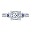 14K White Gold Cushion Cut Diamond Engagement Ring with Sapphire (Semi Mount)