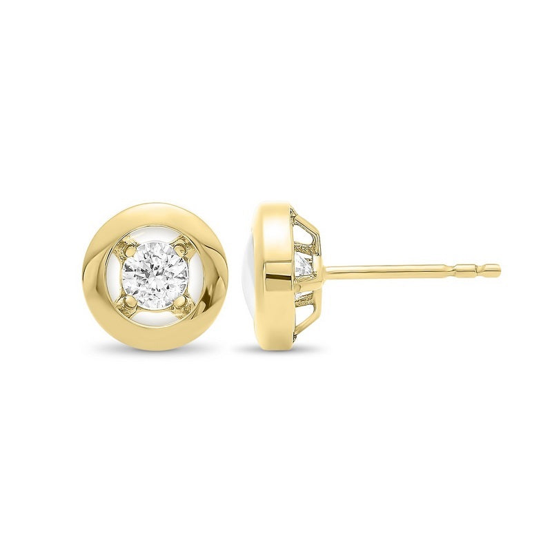 10K Yellow Gold Diamond Earrings 1/6 ct