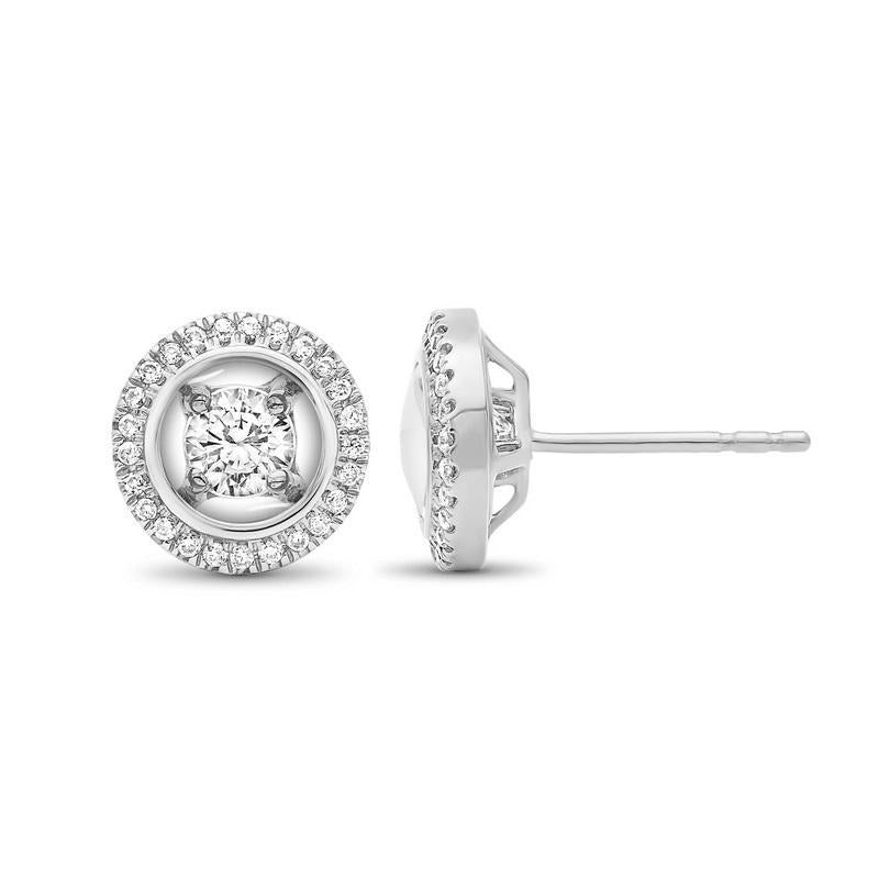 14K White Gold Diamond Earrings 1/3 ct