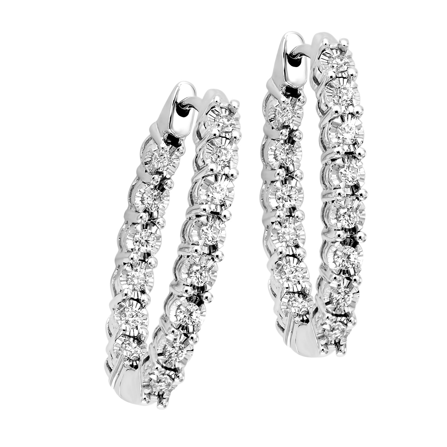 14K White Gold 1/2 ct Diamond Oval Hoop Earrings