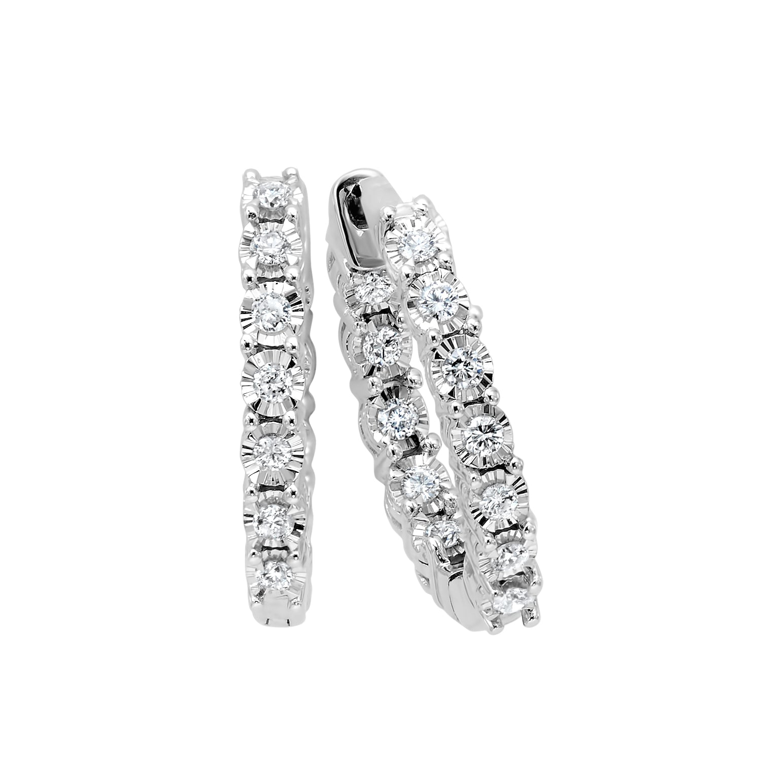 14K White Gold 1/2 ct Diamond Hoop Earrings