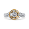 10K Two Tone Gold 7/8 ct Round White Diamond Double Halo Fashion Ring