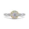 10K Two Tone Gold 1/2 ct Round White Diamond Double Halo Fashion Ring