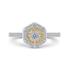 10K Two Tone Gold 1/3 ct Round White Diamond Hexagon Shape Fashion Ring