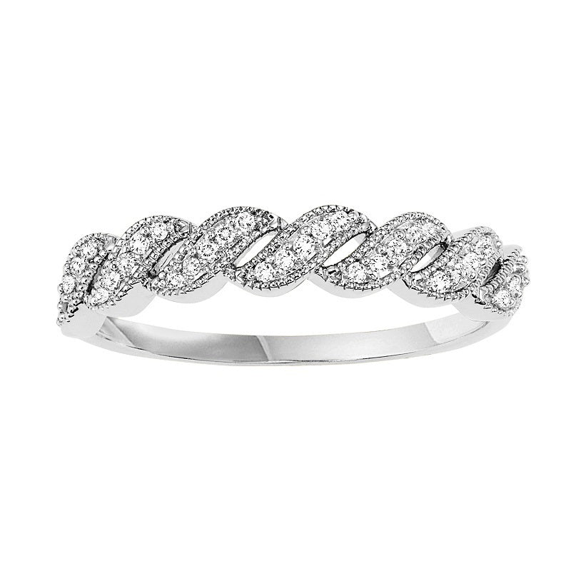 14K White Gold Criss-Cross Diamond Ring - 1/10 ct.