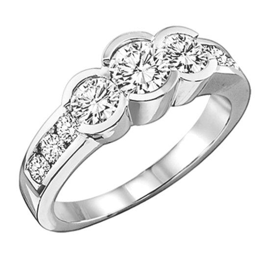 14K White Gold Diamond 3 Stone Plus Ring - 1/2 ctw
