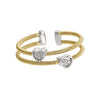 Gold Finish Sterling Silver Two Cable Cuff Ring with Two Rhodium Finish Simulated Diamond Hearts