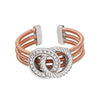 Rose Gold Finish Sterling Silver Three Cable Cuff Ring with Two Rhodium Finish Rope & Simulated Diamond Circles