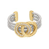 Rhodium Finish Sterling Silver Three Cable Cuff Ring with Two Gold Finish Rope & Simulated Diamond Circles