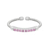 Rhodium Finish Sterling Silver Cable Cuff Ring with Simulated Pink Sapphire Birth Gems - October