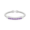 Rhodium Finish Sterling Silver Cable Cuff Ring with Simulated Amethyst Birth Gems - February