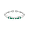 Rhodium Finish Sterling Silver Cable Cuff Ring with Simulated Emerald Birth Gems - May