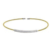 Gold Finish Sterling Silver Single Cable Cuff Bracelet with Rhodium Finish Double Row Simulated Diamonds