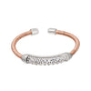 Rose Gold Finish Sterling Silver Single Cable Cuff Ring with Rhodium Finish Double Row Simulated Diamonds
