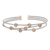 Rhodium Finish Sterling Silver Three Cable Cuff Bracelet with Rose Gold Finish Simulated Diamond Small Circles