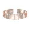 Rose Gold Finish Sterling Silver Multi Cable Cuff Bracelet with Rhodium Finish Simulated Diamond Vertical Bars