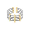 Rhodium Finish Sterling Silver Multi Cable Cuff Ring with Gold Finish Simulated Diamond Vertical Bars