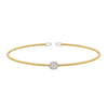 Gold Finish Sterling Silver Single Cable Cuff Bracelet with Rhodium Finish Simulated Diamonds