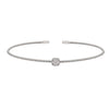 Rhodium Finish Sterling Silver Single Cable Cuff Bracelet with Rhodium Finish Simulated Diamonds