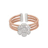Rose Gold Finish Sterling Silver Three Cable Cuff Ring with Rhodium Finish Simulated Diamond Flower