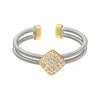 Rhodium Finish Sterling Silver Two Cable Cuff Ring with Gold Finish Simulated Diamond Large Diamond Shape