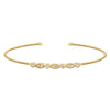 Gold Finish Sterling Silver Cable Cuff Bracelet with Simulated Diamond Marquis & Round Design