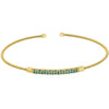 Gold Finish Sterling Silver Cable Cuff Bracelet with Three Rows of Simulated Blue Zircon Birth Gems - December