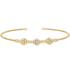 Gold Finish Sterling Silver Cable Cuff Bracelet with Three Clusters of Simulated Diamonds