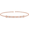 Rose Gold Finish Sterling Silver Cable Cuff Bracelet with Four Beads & Simulated Diamonds