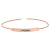 Rose Gold Finish Sterling Silver Cable Cuff Bracelet With Name Plate - MOM