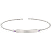 Rhodium Finish Sterling Silver Cable Cuff Bracelet with Name Plate and Simulated Amethyst Birth Gems - February