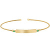 Gold Finish Sterling Silver Cable Cuff Bracelet with Name Plate and Simulated Emerald Birth Gems - May