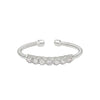Rhodium Finish Sterling Silver Cable Cuff Ring with Beaded Bezel Set Simulated Diamonds