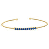 Gold Finish Sterling Silver Cable Cuff Bracelet with Simulated Sapphires