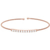 Rose Gold Finish Sterling Silver Cable Cuff Bracelet with Simulated Diamonds