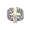 Rhodium Finish Sterling Silver Multi Cable Cuff Ring with Gold Finish Simulated Diamond Three Rows