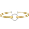 Gold Finish Sterling Silver Two Cable Cuff Bracelet with Rhodium Finish Simulated Diamond Open Circle